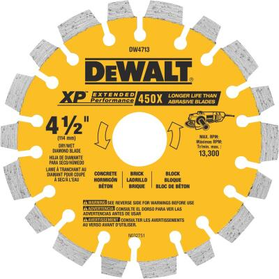 DeWalt Extended Performance 4-1/2 In. Segmented Rim Dry/Wet Cut Diamond Blade