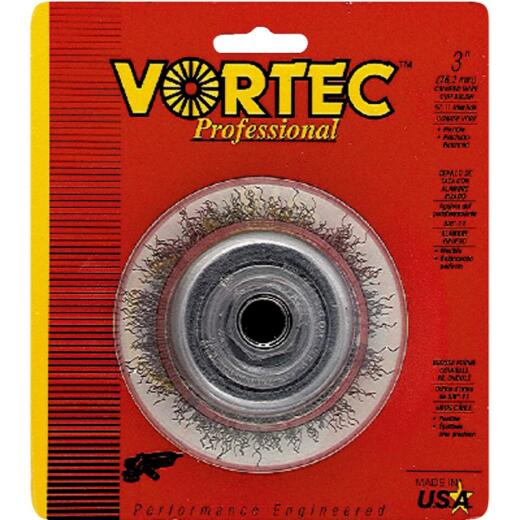 Weiler Vortec 3 In. Crimped 0.014 In. Angle Grinder Wire Brush