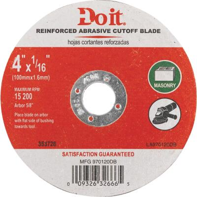 Do it Type 1 4 In. x 1/16 In. x 5/8 In. Masonry Cut-Off Wheel