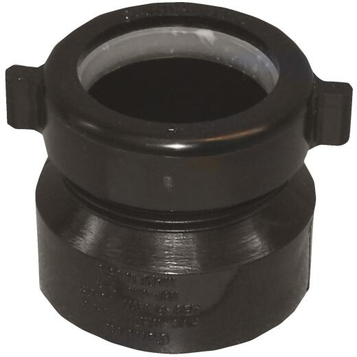 Charlotte Pipe 1-1/2 In. x 1-1/2 In. or 1-1/4 In. HUB x Tubular Black ABS Waste Adapter