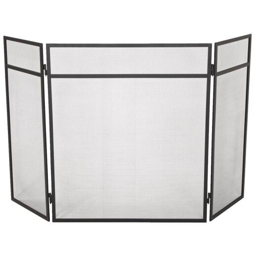Home Impressions 3-Panel Black Mesh Decorative Fireplace Screen