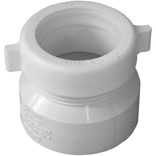 Charlotte Pipe 1-1/2 In. x 1-1/2 In. Hub x Tubular PVC Waste Adapter