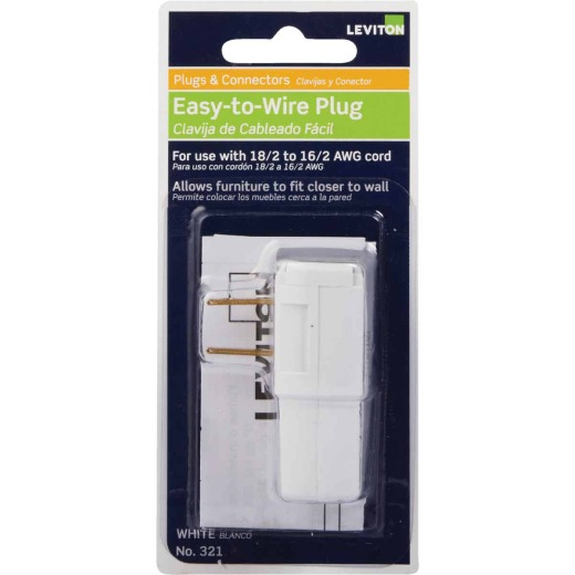 Leviton 15A 125V 2-Wire 2-Pole Easy Wire Cord Plug, White