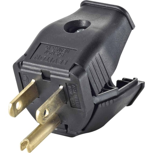Leviton 15A 125V 3-Wire 2-Pole Clamp Tight Cord Plug, Black