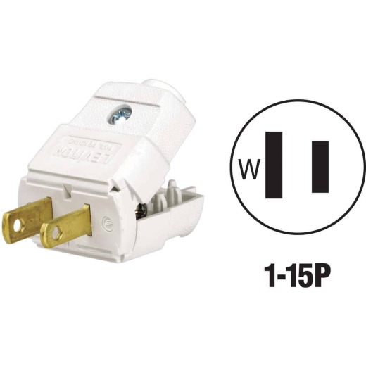 Leviton 15A 125V 2-Wire 2-Pole Clamp Tight Cord Plug, White