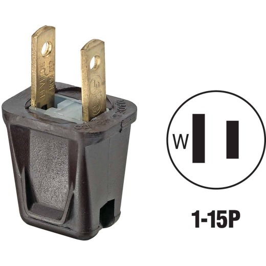 Leviton 10A 125V 2-Wire 2-Pole Non-Grounding Cord Plug, Brown