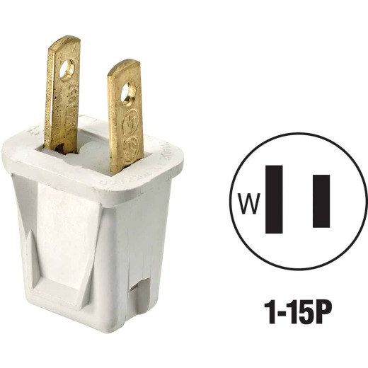 Leviton 10A 125V 2-Wire 2-Pole Non-Grounding Cord Plug, White