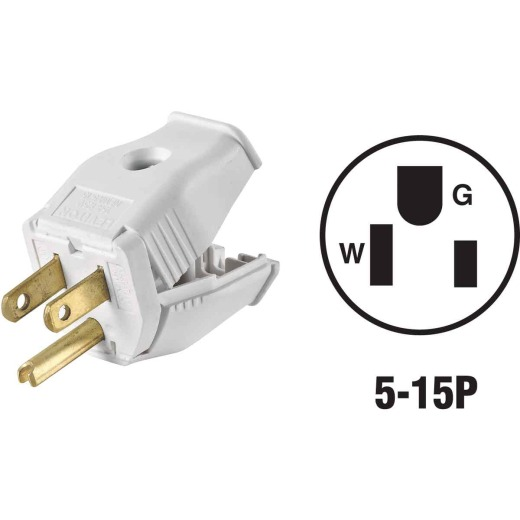 Leviton 15A 125V 3-Wire 2-Pole Clamp Tight Cord Plug, White