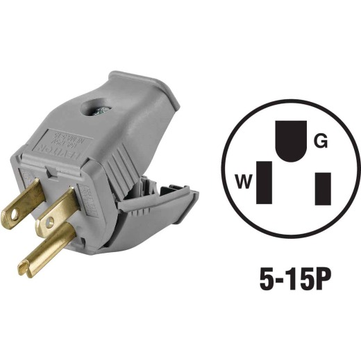 Leviton 15A 125V 3-Wire 2-Pole Clamp Tight Cord Plug, Gray