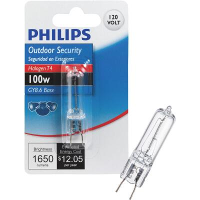 Philips 100W 120V Clear GY8.6 Base T4 Halogen Special Purpose Light Bulb