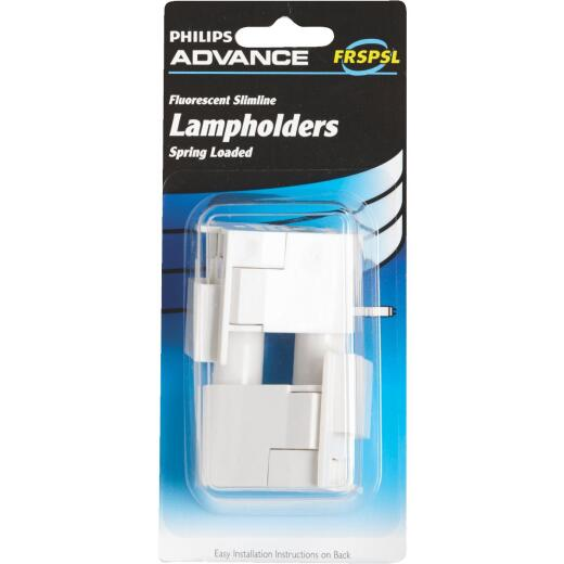 Philips Spring Loaded Slim-Line Tombstone Single Pin T8/T12 Fluorescent Lampholder (2-Pack)