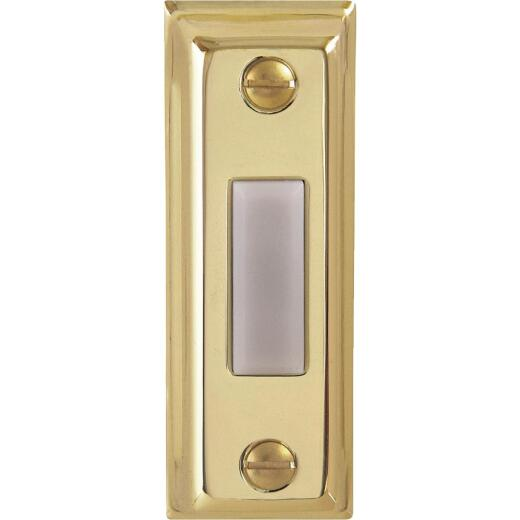 IQ America Wired Polished Brass Rectangular Design Lighted Doorbell Push-Button