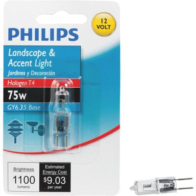 Philips 75W 12V Clear GY6.35 Base T4 Halogen Special Purpose Light Bulb