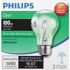 Philips 100W Equivalent Clear Medium Base A19 Halogen Light Bulb (2-Pack) Image 3