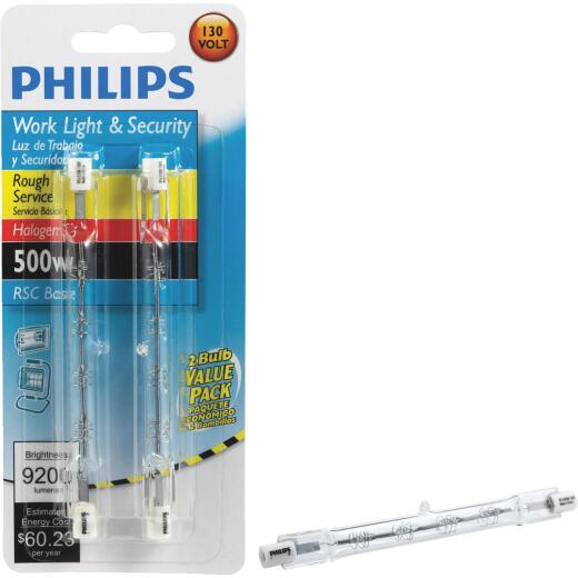 Philips 500W 130V Clear RSC Base T3 Halogen Rough Service Light Bulb (2-Pack)