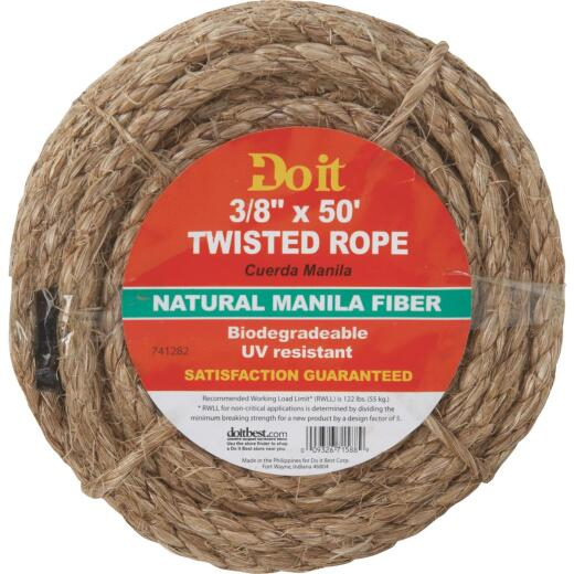 Do it 3/8 In. x 50 Ft. Natural Twisted Manila Fiber Packaged Rope