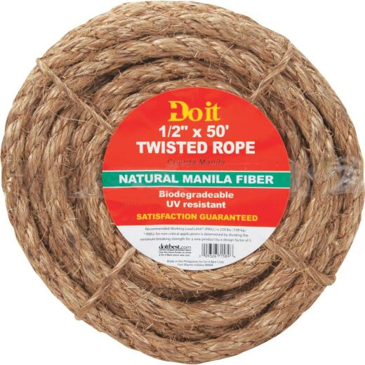 Do it 1/2 In. x 50 Ft. Natural Twisted Manila Fiber Packaged Rope