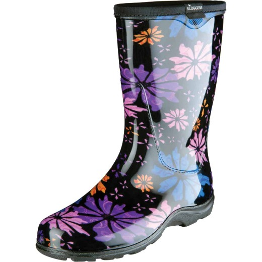 Sloggers Women's Size 10 Black w/Flowers Rain & Garden Rubber Boot