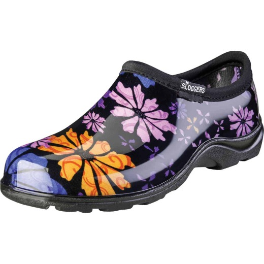 Sloggers Women's Size 9 Black w/Flower Design Garden Shoe