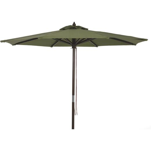 Outdoor Expressions 7.5 Ft. Pulley Heather Green Market Patio Umbrella with Chrome Plated Hardware