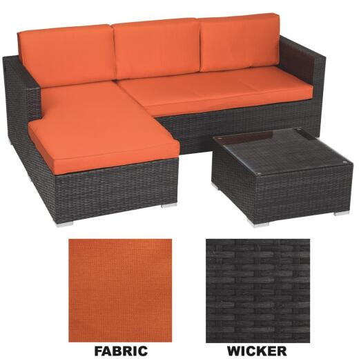 Malibu 3-Seat 94 In. W. x 25 In. H. x 62 In. D. Orange Sectional Sofa Set