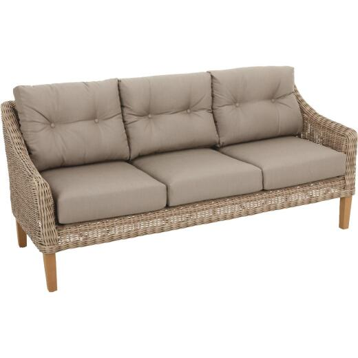 Cambria 3-Person 73 In. W. x 31 In. H. x 29 In. D. Taupe Wicker Sofa