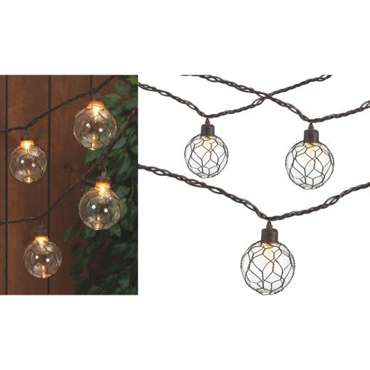 Gerson 8.5 Ft. 10-Light Clear Black Chicken Wire Globe String Lights